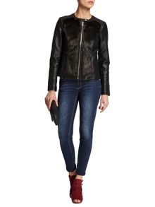 Morgan Furry-look biker-style jacket