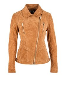 Suede-look back-panel cropped jacket