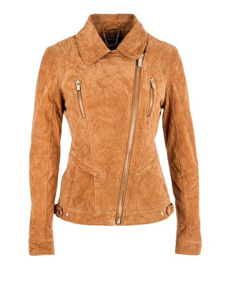 Morgan Suede-look back-panel cropped jacket