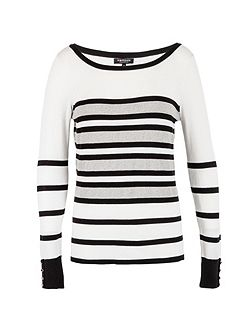 Contrasting-stripe knitted sweater