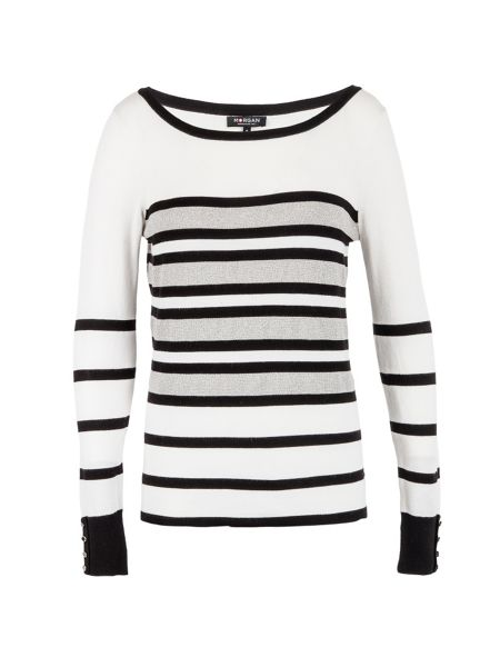 Morgan Contrasting-stripe knitted sweater