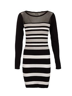 Fitted Mesh-Insert Striped Dress