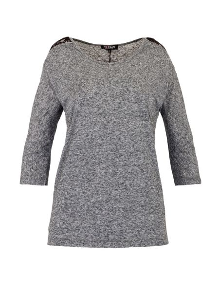 Morgan 3/4 sleeve T-shirt with lace shoulders