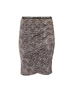 Ethnic-pattern pencil skirt