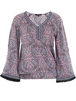 Wide-sleeve patterned top