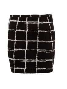 Graphic check-print skirt