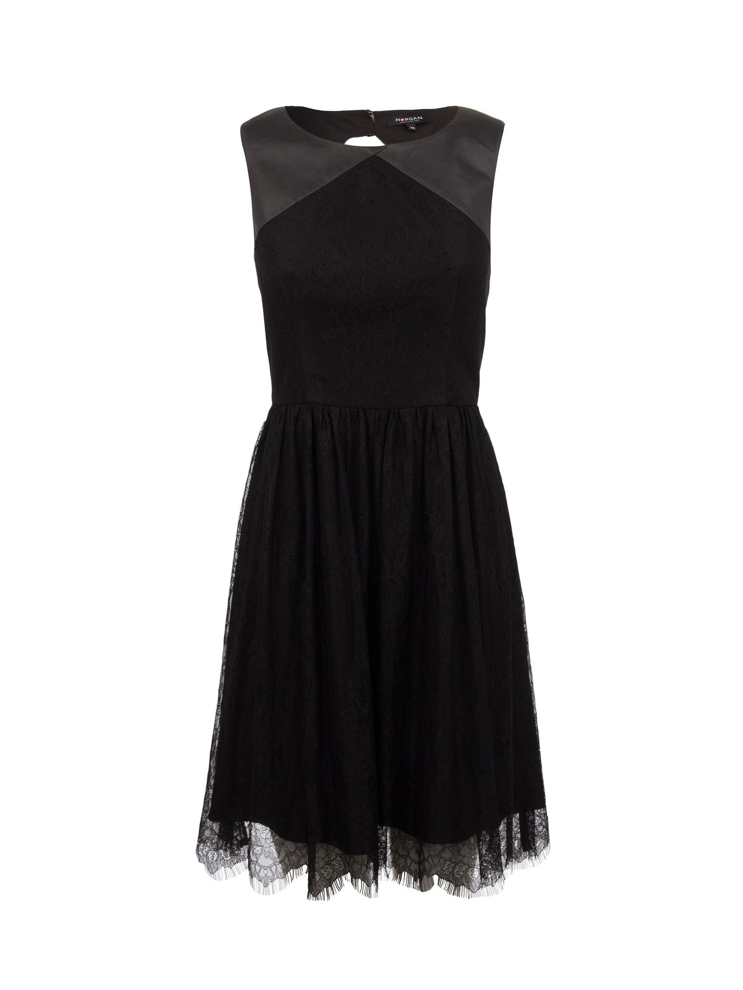 Morgan Lace and leather-look dress, Black