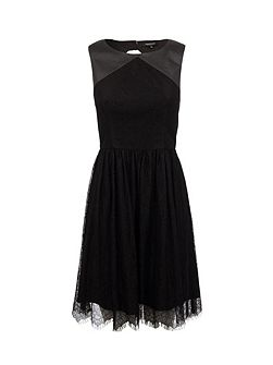 Lace and leather-look dress