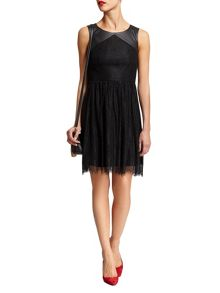 Morgan Lace and leather-look dress