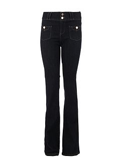 Bootcut Cotton Button-Detail Jeans