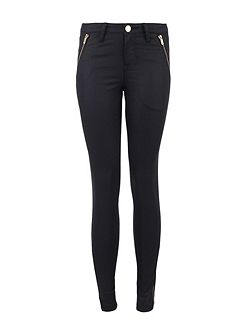 Slim-Fit Metallic-Look Cotton Jeans