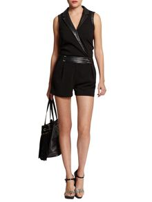 Morgan Short Leather-Look-Detail Playsuit