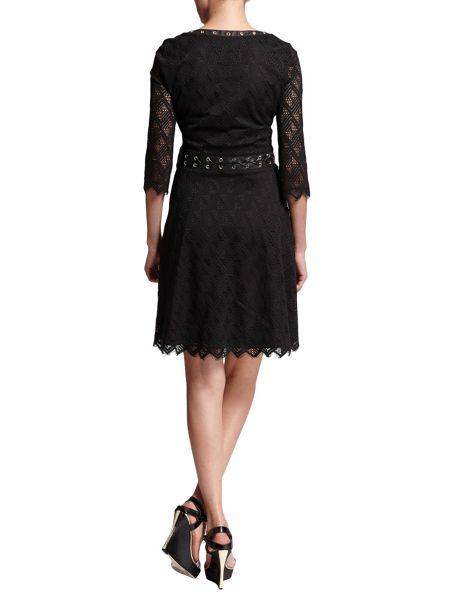 Morgan Patterned Cotton Lace-Detail Dress