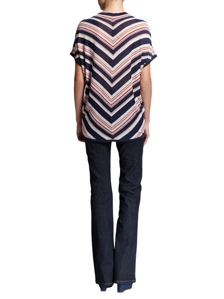 Morgan Chevron-Patterned Tie-Detail Top