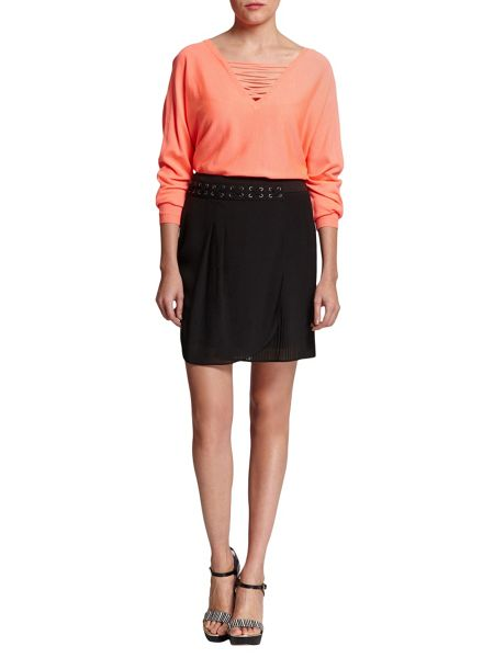 Morgan Pleated Wrap-Front Skirt