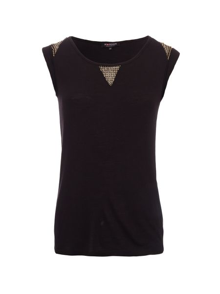 Morgan Metal Chain Shoulder-Detail Top