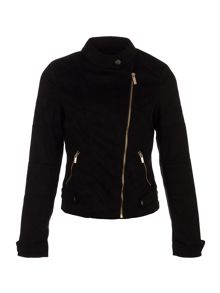 Morgan Biker-Style Suede-Look Jacket