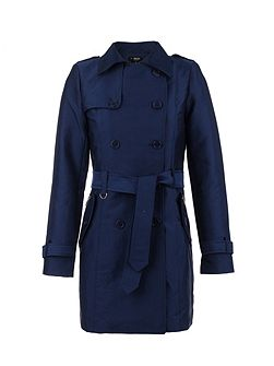Zip-Detail Cotton Trench Coat