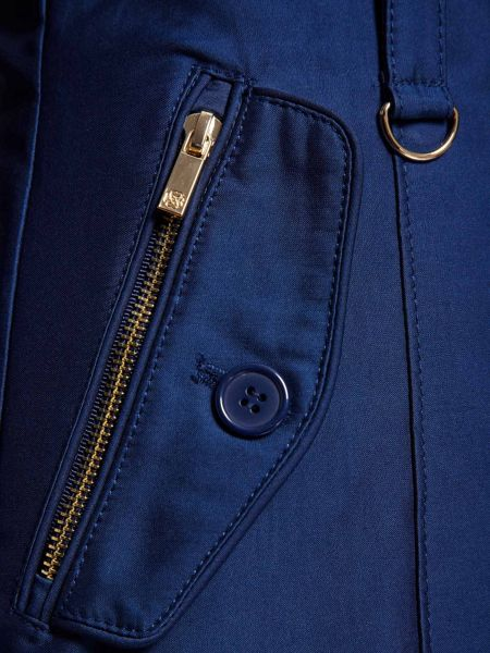 Morgan Zip-Detail Cotton Trench Coat