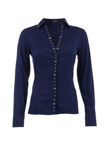 Morgan Fitted Eyelet-Detail Cotton Blouse