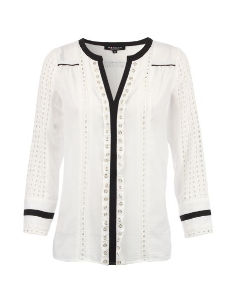 Morgan Notched-Collar Eyelet-Detail Blouse