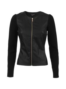 Morgan Fitted Leather-Look Cotton Jacket