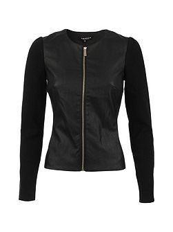 Fitted Leather-Look Cotton Jacket