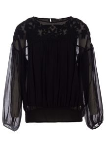 Morgan Beaded-Detail Loose-Fitting Top