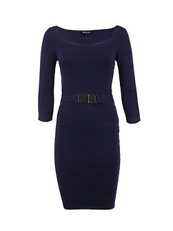 Fitted Belted-Detail Dress