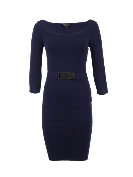 Morgan Fitted Belted-Detail Dress