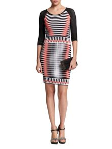 Morgan Openwork-Sleeve Patterned Dress
