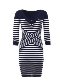 Morgan Striped Knitted Waist-Detail Dress