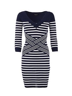 Striped Knitted Waist-Detail Dress