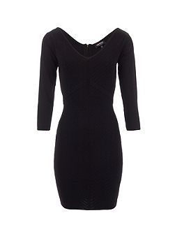 Knitted Ribbed Seam-Patterned Dress