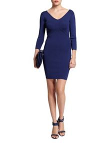 Morgan Knitted Ribbed Seam-Patterned Dress