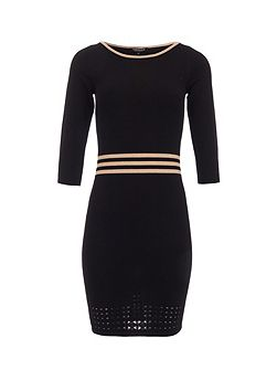 Knitted Stripe-Detail Fitted Dress