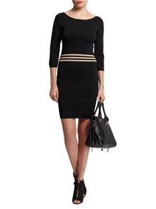 Morgan Knitted Stripe-Detail Fitted Dress