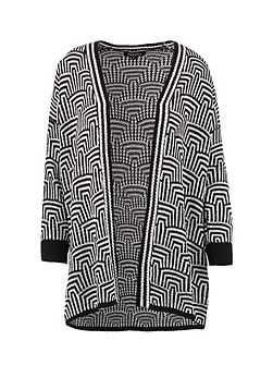 Graphic-Print Knitted Cardigan