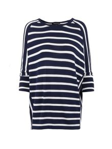 Morgan Striped Raglan-Sleeve Sweater