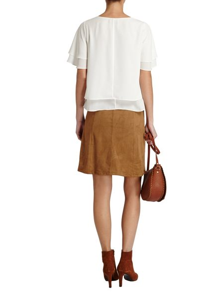 Morgan Pleated lined plain colour top