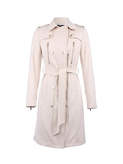 Leather-Look Buttoned Cotton Trench Coat