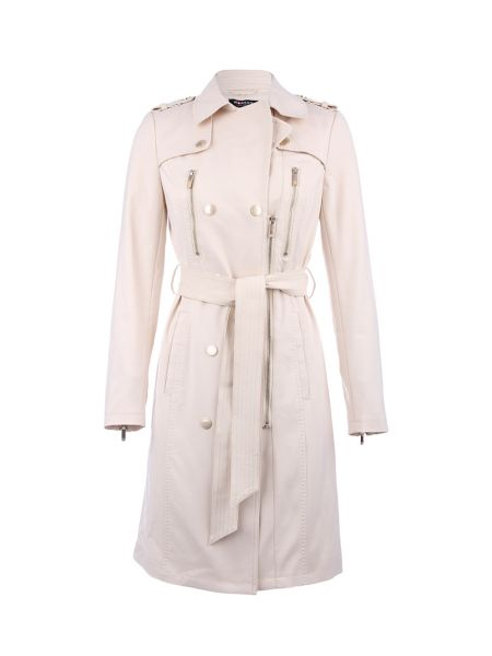 Morgan Leather-Look Buttoned Cotton Trench Coat