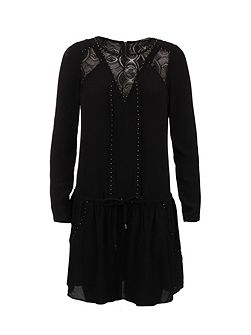 Patterned Lace-Insert Cotton Dress