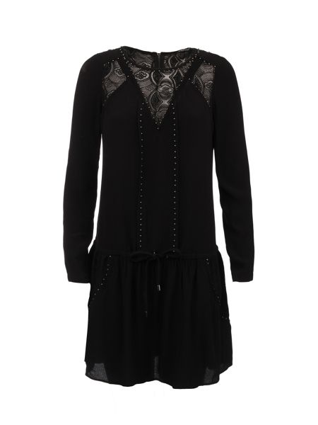 Morgan Patterned Lace-Insert Cotton Dress