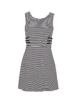 Nautical A-Line Dress With Cut-Out Rear