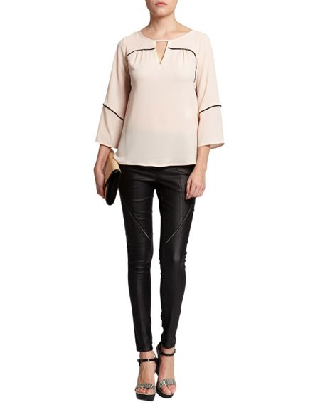 Morgan Contrast-Detail Tunic-Style Top