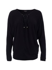 Morgan Knitted Laced-Collar Cotton Sweater