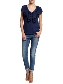 Morgan Ruffle-Front Fitted Top