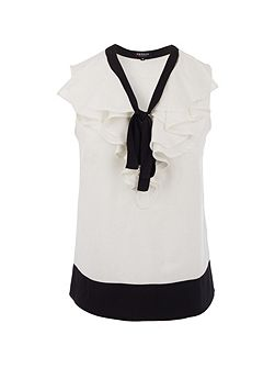 Ruffle and tie-detail top