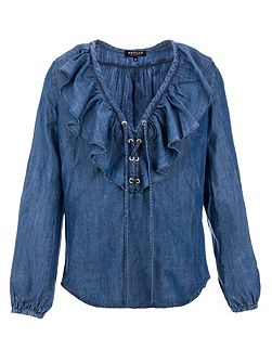 Denim Ruffle Shirt